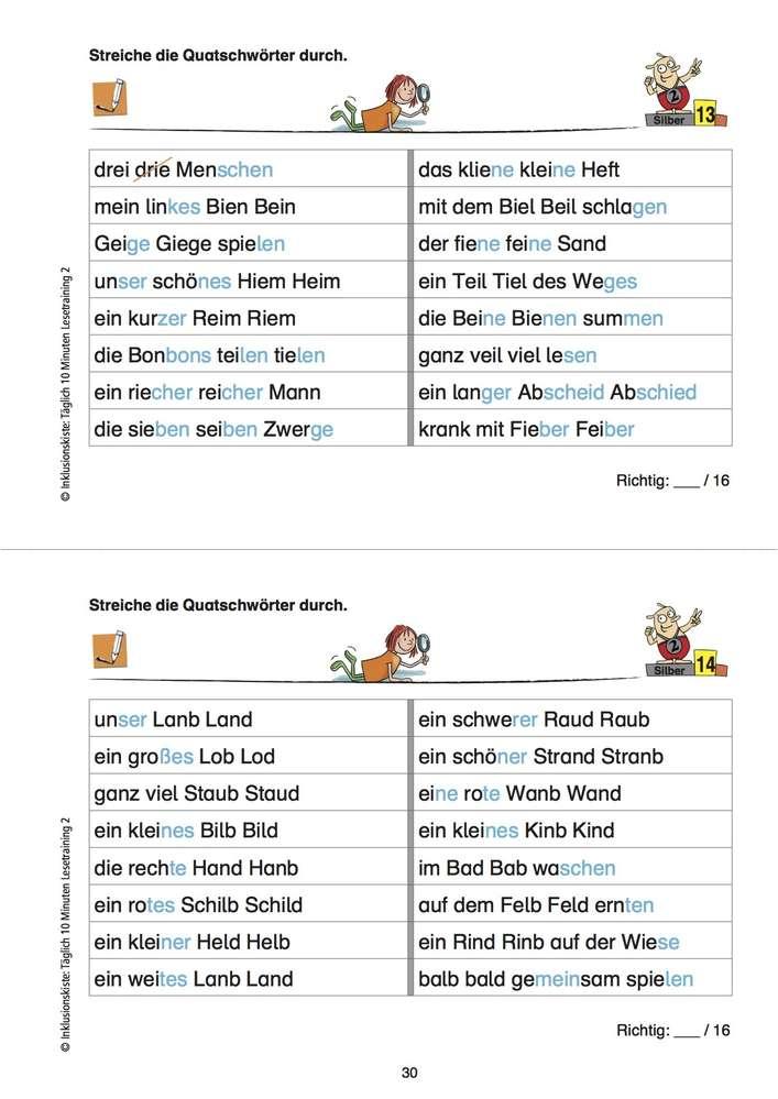 Täglich 10 Minuten Lesetraining: Quatschwörter in Wortgruppen ...
